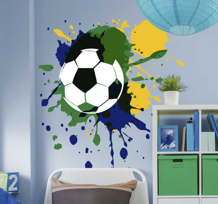 TenStickers. Sticker Sport Peinture Ballon de foot. Pour un sticker mural original quand on est fan de foot, cet autocollant d'art de ballon agrémenté de tâches de peinture est parfait !