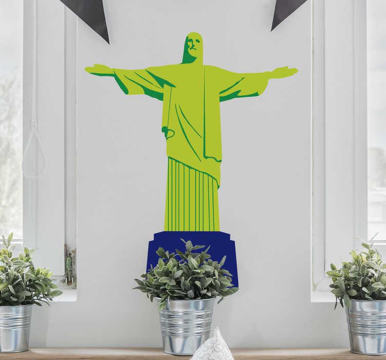 TenStickers. Autocolantes com desenhos cristo redentor. Autocolantes decorativo com desenhos com temas do Brasil. Ideal para quem é apaixonado por esta cultura. Adesivo com vários desenhos.
