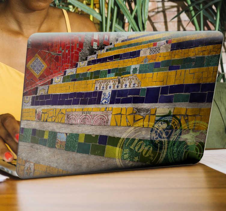 TenStickers. Escadaria Selarón adesivo para pc. Autocolantes com foto murais com temas relacionados com o Brasil. Demosntre o seu amor por este país com os nossos adesivos.