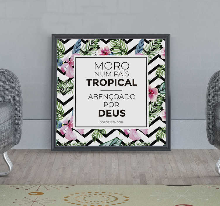 TenStickers. Autocolantes quarto de dormir país tropical. Autocolantes decorativos com letras de canções ideais para transformar a sua casa. Ideal para colar no quarto de dormir, sala de estar, etc.