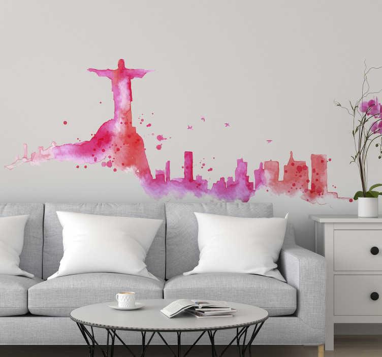 TenStickers. Vinil com silhuetas Rio de Janeiro skyline. Adesivos com desenhos de silhuetas maravilhoso para decorar as paredes, portas, janelas a até mesmo electrodomésticos da sua casa.