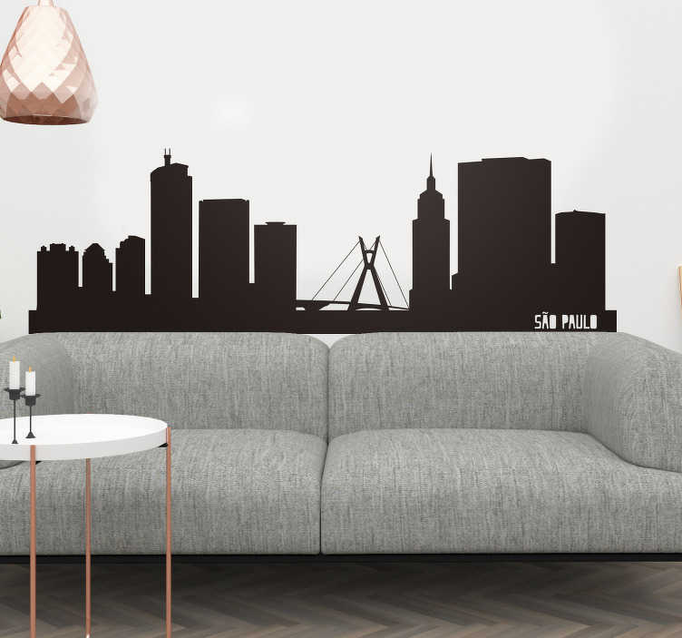 TenStickers. Vinil com silhuetas são paulo skyline. Maravilhoso sticker para decorar qualquer parede ou divisão e transformar a sua casa ainda mais colorida, original e diferente.