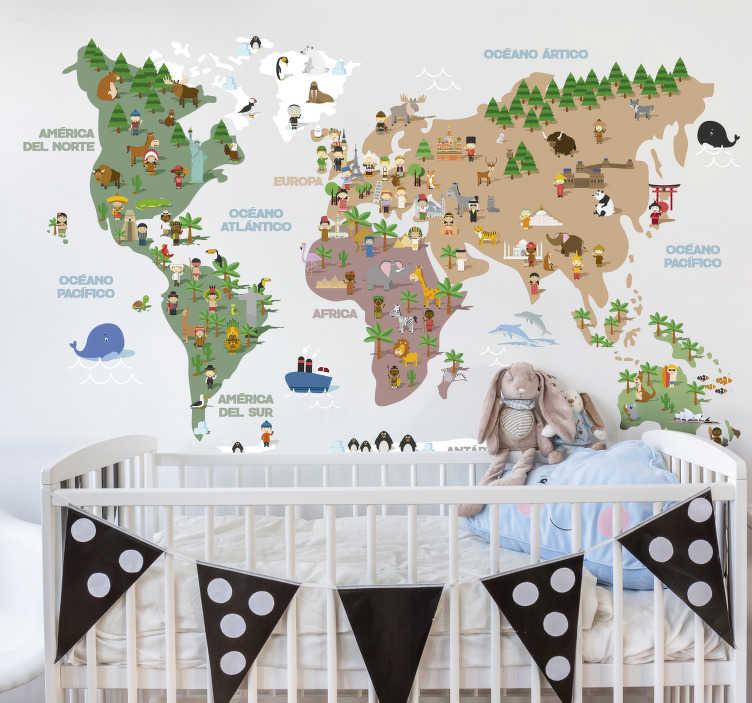 TenVinilo. Vinilo mapamundi culturas del mundo. Mural formado por el diseño de un mapamundi con ilustraciones que representan la cultura de cada continente. Promociones Exclusivas vía e-mail.