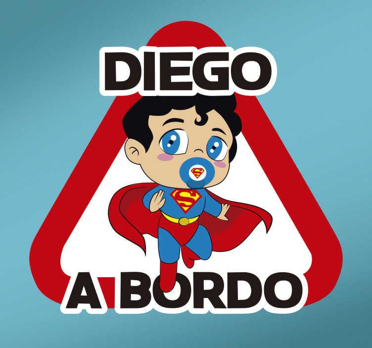 TenVinilo. Pegatina bebé a bordo Superman para coche. Pegatina bebe a bordo personalizada para coche o auto con el diseño de Superman para recordar a los conductores que tengan cuidado ¡Envío a domicilio!