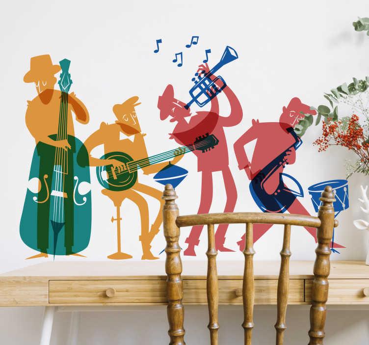TenStickers. Naklejka ścienna Zespół jazz i instrumenty. Potrzebujesz niestandardowej dekoracji do salonu? Nasza naklejka instrumenty i zespół jazzowy na ścianę pozwoli ci się przenieść w inny świat.