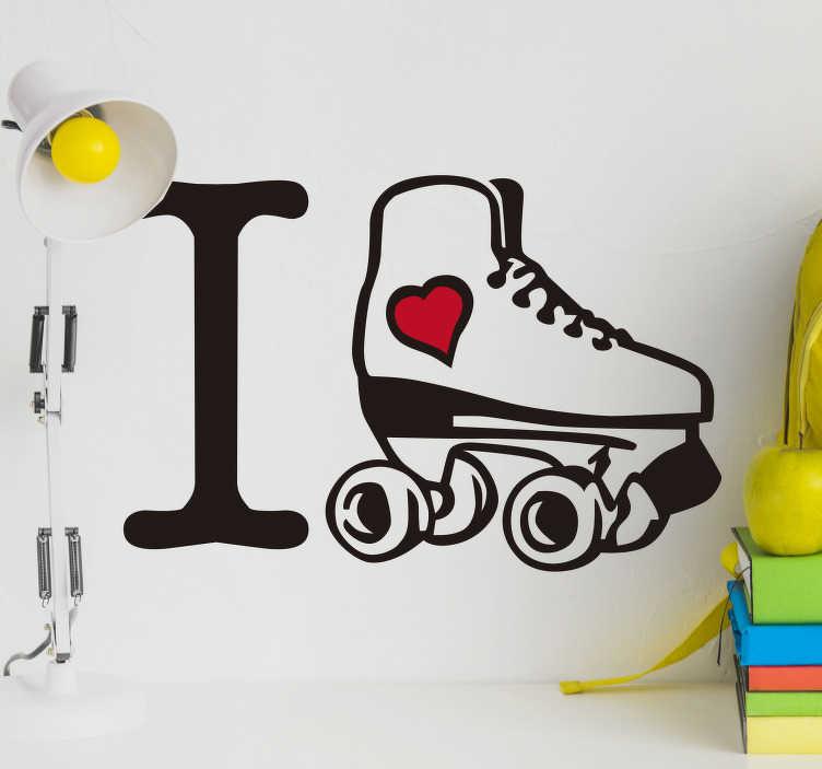 TenStickers. Sticker Sport J'aime le patinage. Ce sticker mural accompagné d'un dessin de patin à roulettes apportera une touche d'originalité aux murs d'une chambre d'ado