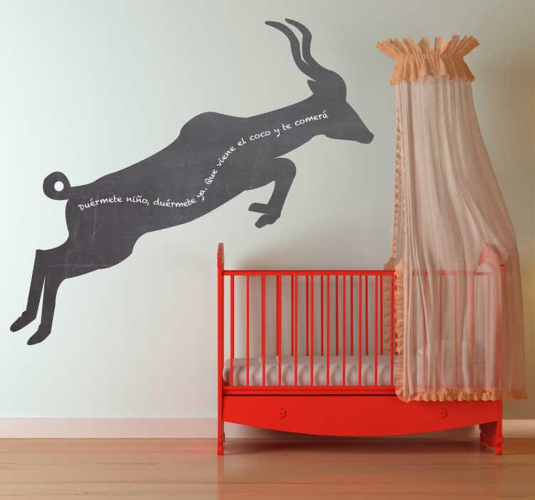 TenStickers. Naklejka tablica sylwetka gazeli. Tablica kredowa w formie wygodnej naklejki, przedstawiającej skaczącą afrykańską gazelę. Możesz po naklejke pisać i malować kredą.