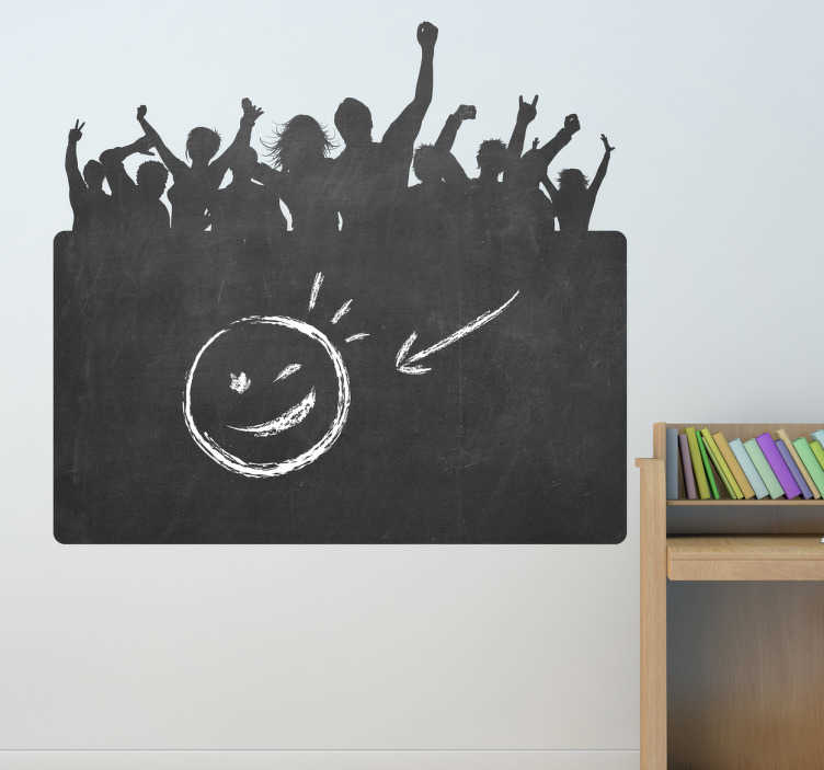TenStickers. Party People Blackboard Sticker. Blackboard Stickers; Silhouette illustration of a party crowd. Slate sticker design ideal for decorating any room