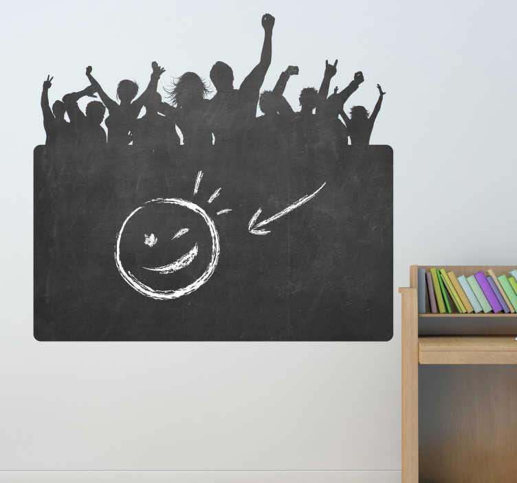 TenStickers. Sticker feestende menigte. Een leuke muursticker met hierop de schaduwen van een feestende menigte op een grote fuif. Originele wanddecoratie voor bij u thuis!