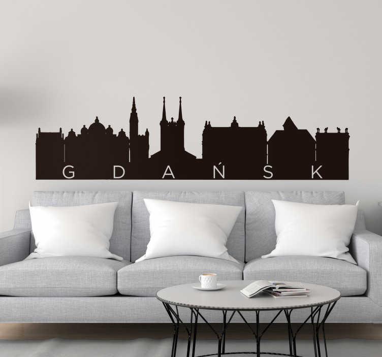 TenStickers. Naklejka na ścianę sylwetka Panorama Gdańsk. Zastanawiasz się jak oryginalnie udekorować salon? Chcesz panoramę Gdańska w salonie? Nasze naklejki ścienne do salonu są dla Ciebie!