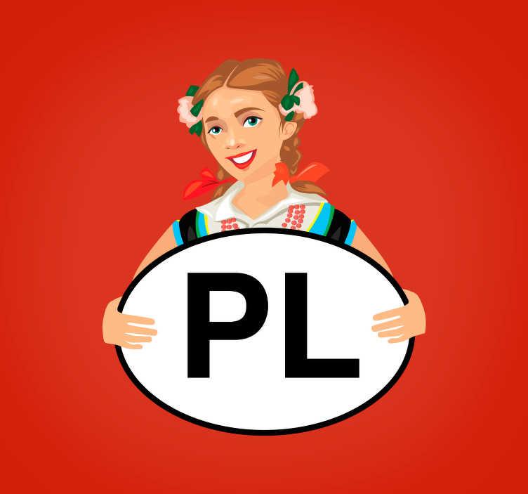 TenStickers. Naklejka na samochód Dziewczyna z PL. Pragniesz udekorować auto w inny sposób? Nasze naklejki samochodowe z polskim motywem i napisem PL mogą doskonale ułatwić Ci to zadanie.