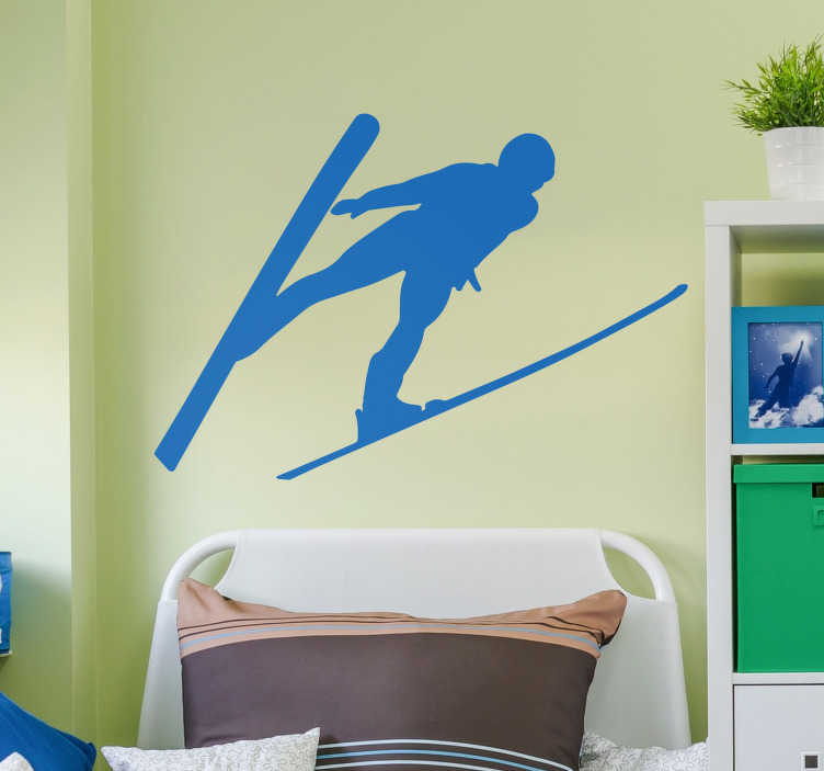 TenStickers. Skiing Man Silhouette Sticker. If you love to ski, then this wall silhouette sticker depicting a man skiing magnificently through the air! Extremely long-lasting material.