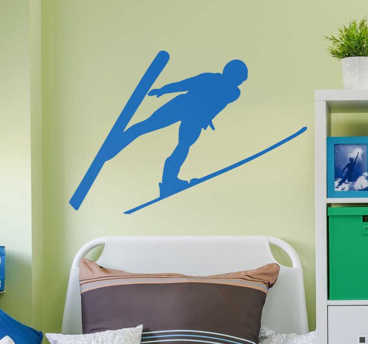 TenStickers. Silhouette stickers Schansspringer. Deze winter muursticker van een  sportieve ski sticker van een schansspringer muursticker. Schansspringen stickers en skien muurstickers zijn uniek!