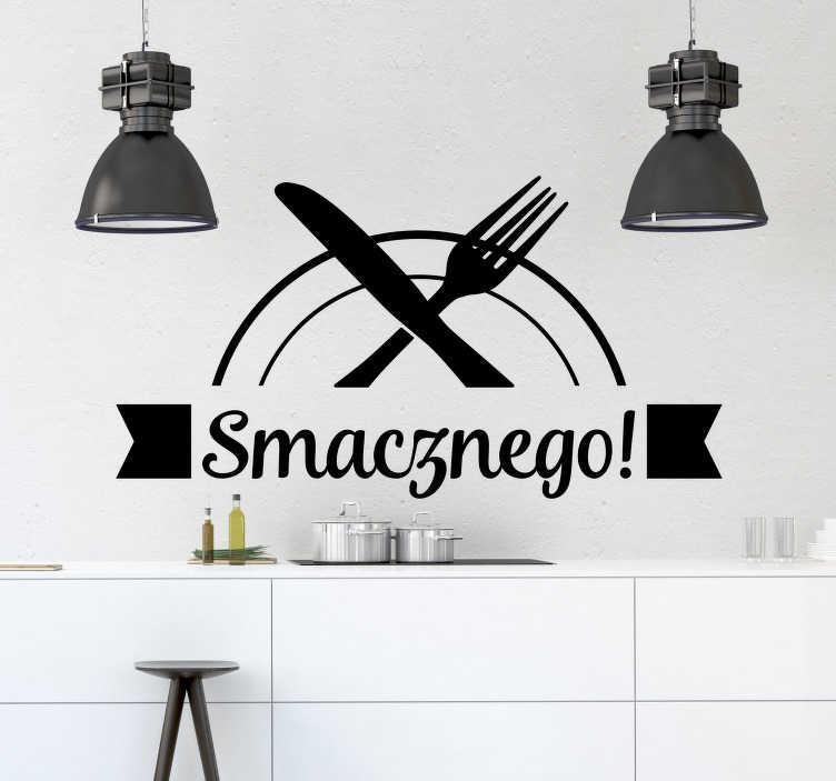 """TenStickers. Naklejka na ścianę do kuchni Napis Smacznego. Napisy na ścianę do kuchni to niezwykły pomysł na nieszablonowe ozdoby do domu. Wykorzystaj naklejkę z tekstem """"Smacznego!"""" i ciesz się swoją kuchnią!"""