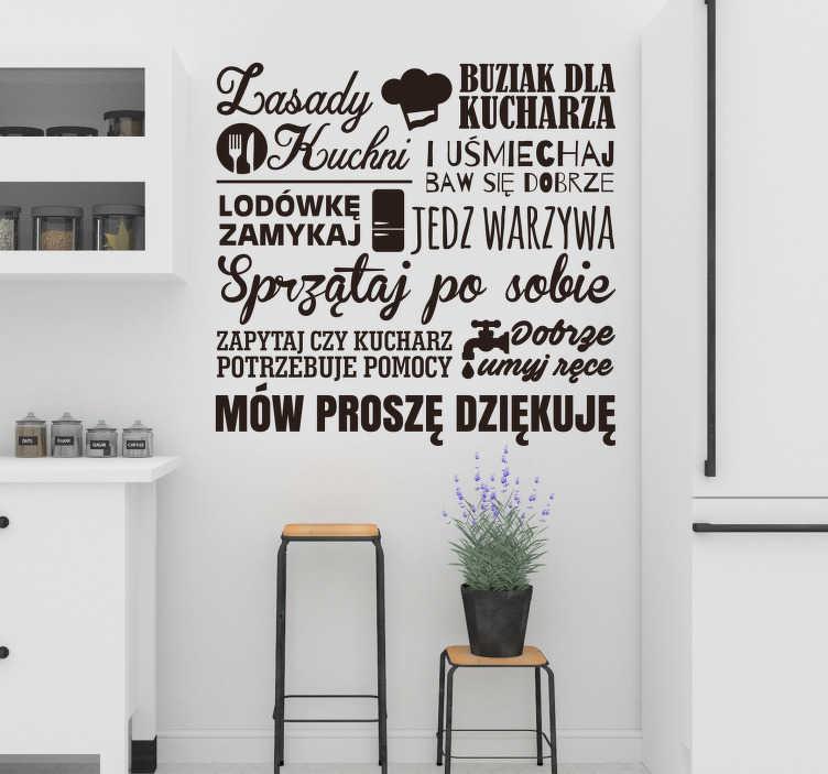 """TenStickers. Naklejka na ścianę przepisy Zasady kuchni. Napisy na ścianę do kuchni to świetny pomysł na intrygujące dekoracje Twojego domu. Zamów naklejkę z tekstem """"Zasady kuchni""""."""