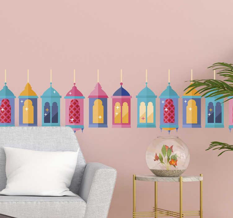 TenStickers. Muurstickers ornament kleurrijke lampionnetjes. Mooie kleurrijke lampion muurstickers: lampion muursticker voor de slaapkamer, muursticker lampionnetjes voor muren en Muurstickers lampjes!