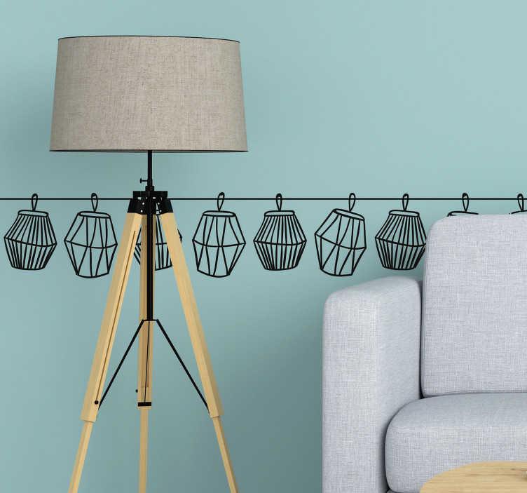TenStickers. 灯笼对象墙装饰. 装饰对象边框墙贴与灯笼剪影设计。提供不同的颜色和尺寸。易于应用且自粘。