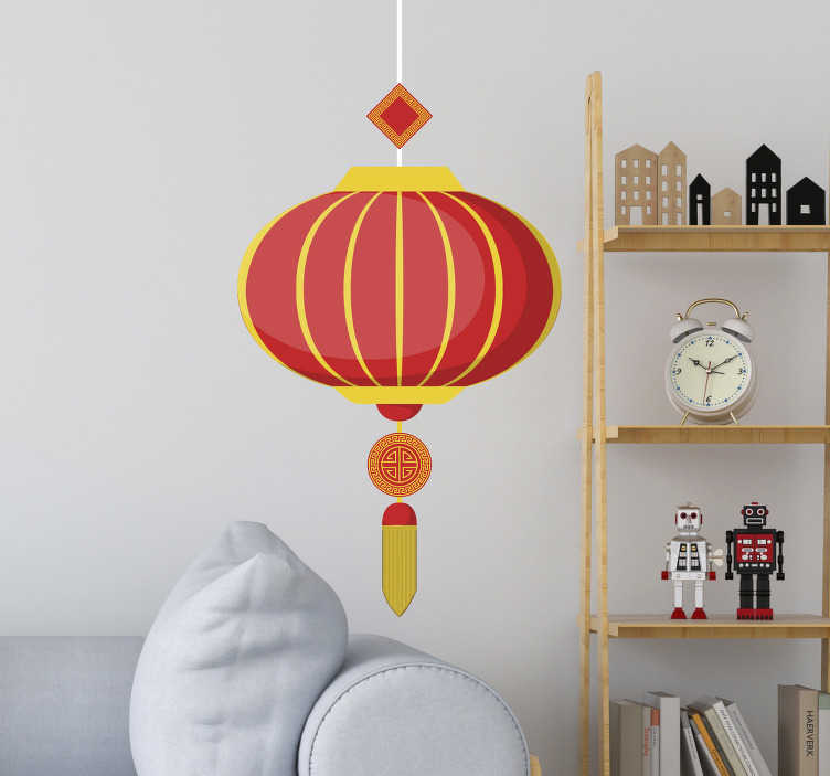 TenStickers. Muurdecoratie stickers Chinese lampion lamp. Woonkamer muurdecoratie: Mooie chinese muurstickers , chinese lampion sticker, lampion muursticker, muursticker lampion en Muurstickers China!