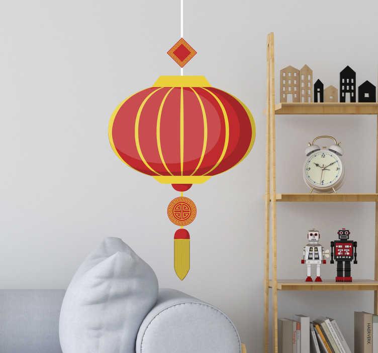 TenStickers. Naklejka z rysunkiem Chiński lampion. Szukasz orientalnej dekoracji do salonu? Sprawdź nasze naklejki z lampą w stylu chińskim, wspaniałą jako naklejki na ścianę do pokoju.