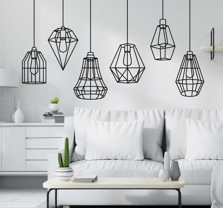 TenStickers. Wzór na ścianę Geometryczne lampy. Szukasz oryginalnej dekoracji do salonu? Sprawdź nasze naklejki z eleganckimi lampami, wspaniałe jako naklejki na ścianę do pokoju.
