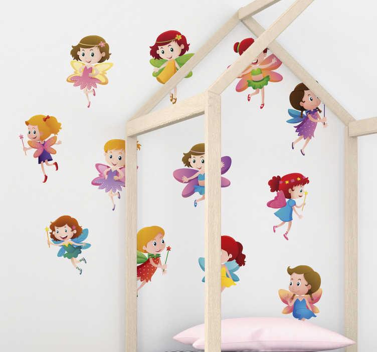 TenStickers. Naklejka z rysunkiem Kolorowe wróżki. Nie wiesz jak udekorować pokój noworodka lub pokój dziecka? Zamów nasze naklejki dla dzieci wróżki i udekoruj nimi pokój dziecka!