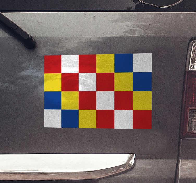 TenStickers. Autocollant Voiture Drapeau Anvers. Vous venez d'Anvers ou vous adorez la ville et vous voulez le montrer sur la route ? Cet autocollant drapeau pour voiture est désigné pour vous