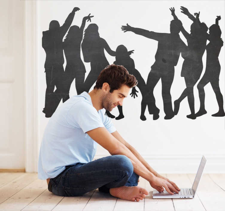 TenStickers. Party Crew Blackboard Sticker. Blackboard Stickers; Silhouette illustration of a group of people dancing. Slate sticker design ideal for decorating any room