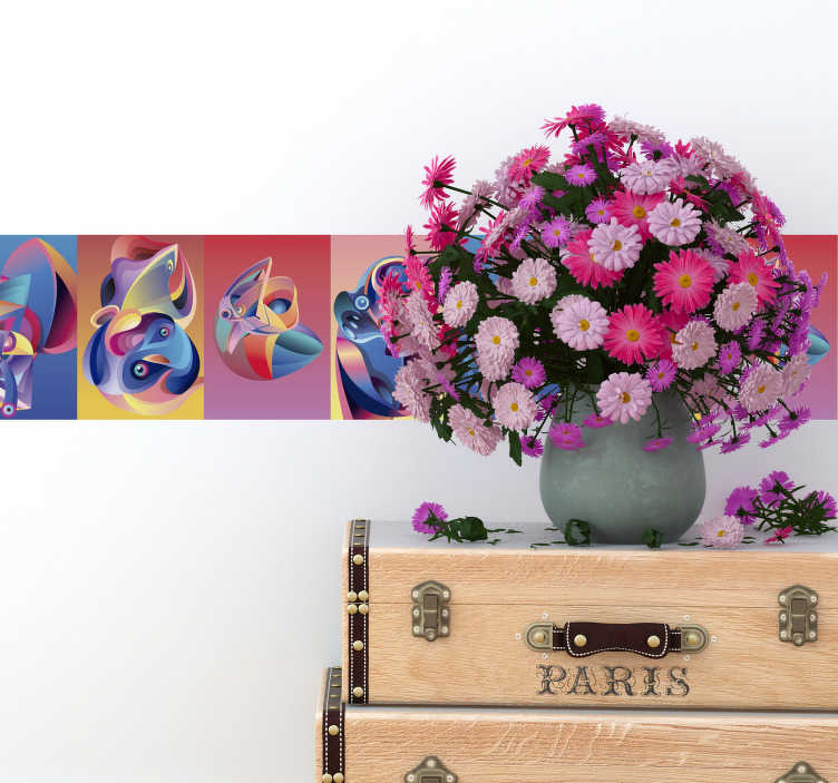 TenVinilo. Vinilo pared Alebrijes animales. Original cenefa adhesiva formada por varios diseños de alebrijes en tonos alegres y vibrantes. Promociones Exclusivas vía e-mail.