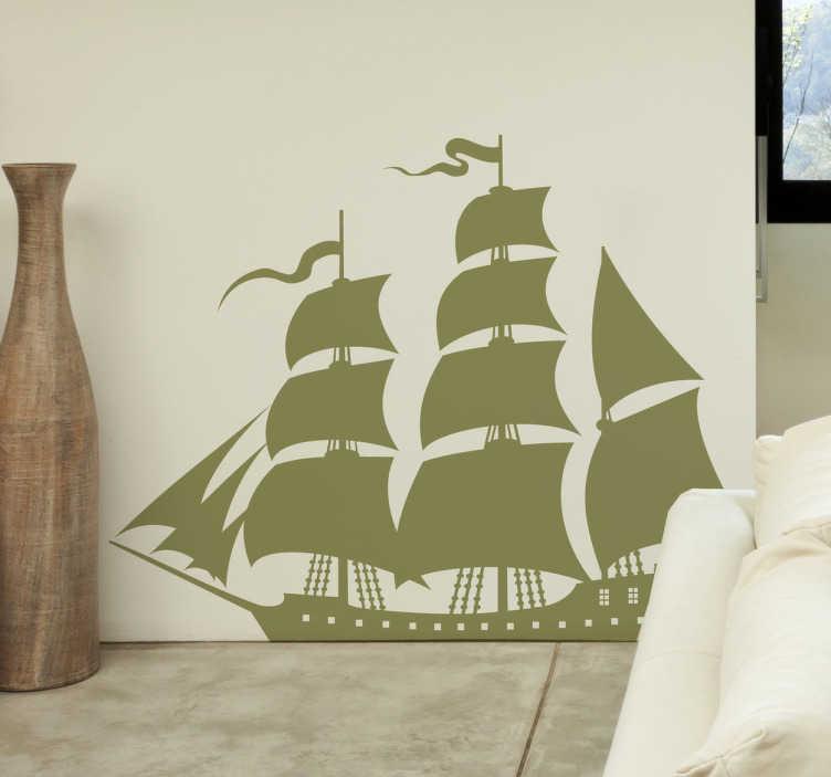 TenStickers. Autocollant mural bateau voilier. A l'abordage ! Stickers mural illustrant un grand bateau à voile.Sélectionnez les dimensions de votre choix.Idée déco originale et simple pour votre intérieur.