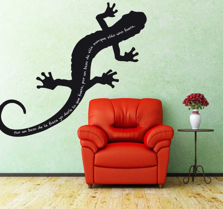 TenStickers. 도마뱀 붙이 벽 아트 칠판 스티커. 도마뱀 칠판 데칼을 보여주는 실루엣 디자인! 도마뱀 붙이 벽 예술 스티커의 우리의 수집에서 화려한 디자인!