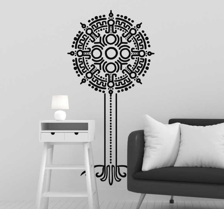 TenVinilo. Vinilo abstracto Árbol de la vida símbolos. Pegatina adhesiva formada por la ilustración del árbol de la vida diseñado a partir de diferentes símbolos mejicanos. +50 Colores Disponibles.