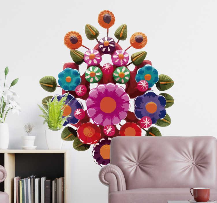TenVinilo. Vinilo pared Árbol de la vida. Original y colorida pegatina adhesiva formada por el diseño de un árbol de la vida de estilo floral típico de México. Fácil aplicación y sin burbujas.