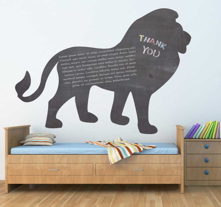 TenStickers. Lion Silhouette Blackboard Sticker. Blackboard Stickers - Lion silhouette design. Ideal way to decorate the kids´bedroom and also allow them to have fun and get creative.