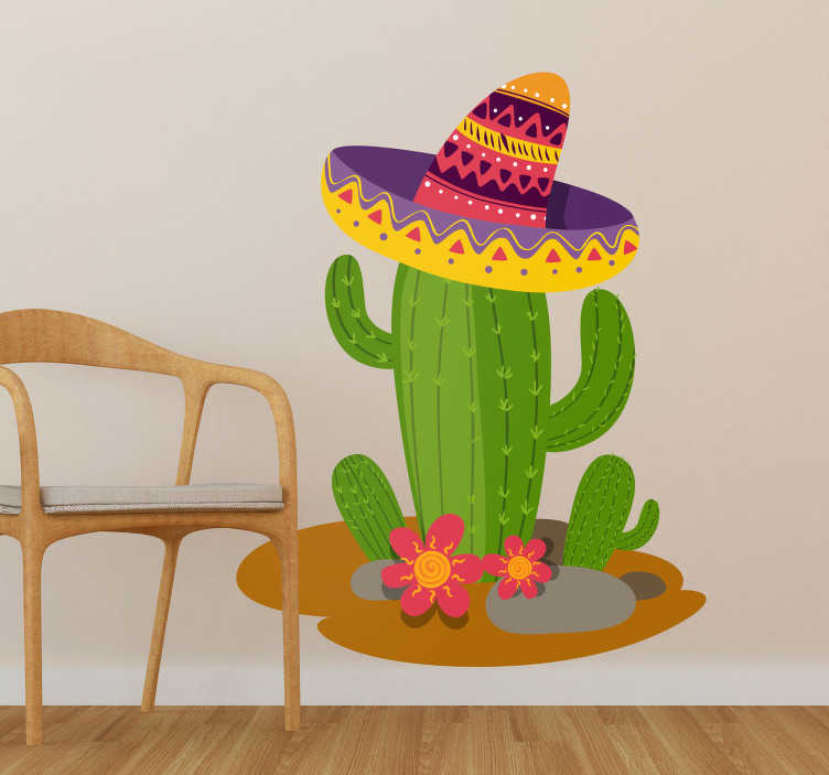 TenVinilo. Vinilo pared Cactus mexicano. Original y colorida pegatina infantil formada por la ilustración de un gracioso cactus mexicano. Envío Express en 24/48h.