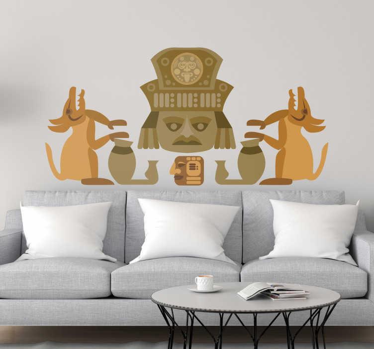 TenVinilo. Vinilo pared Figura zapoteca. Original pegatina adhesiva formada por la ilustración de unas figuras típicas de la cultura zapoteca. Descuentos para nuevos usuarios.