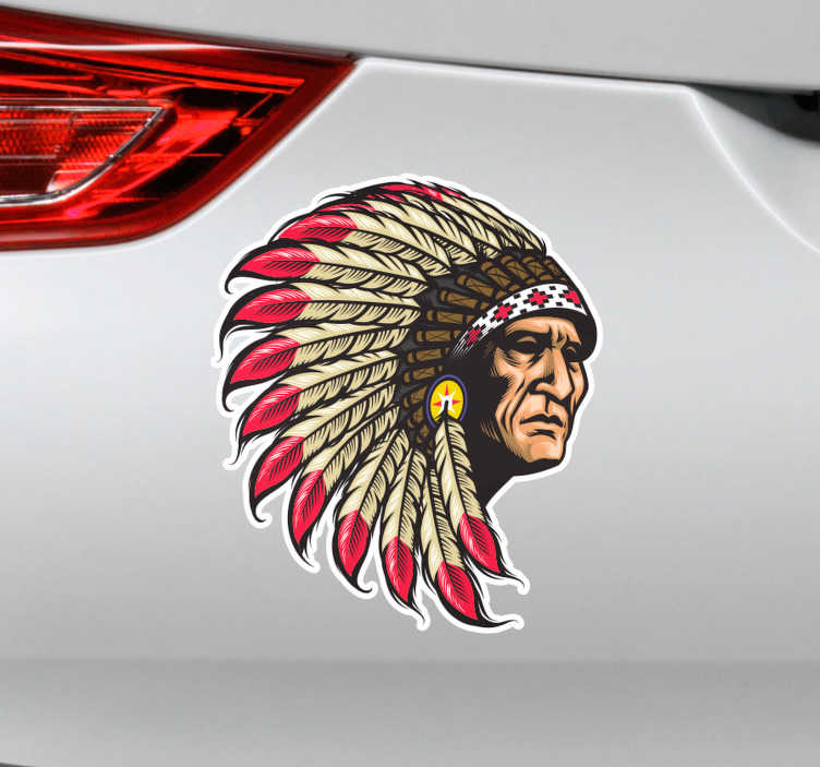 TenVinilo. Pegatina de viaje Indio apache. Original pegatina adhesiva ideal para decorar un vehículo formada por la ilustración realista de un indio apache. Precios imbatibles.
