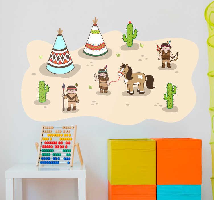 TenVinilo. Vinilo infantil Indios tipi. Original pegatina adhesiva para habitación infantil formada por la ilustración de una aldea india con tiendas tipi. Atención al Cliente Personalizada.