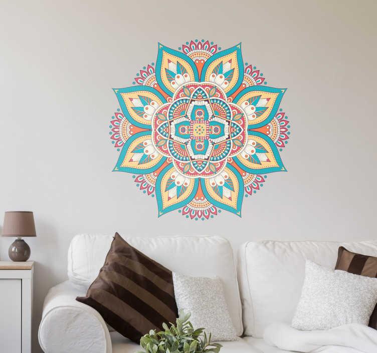 TenVinilo. Vinilo abstracto Mandala Huichol. Original vinilo adhesivo formado por la ilustración de una mandala floral, diseñada a partir del arte huichol. Compra Online Segura y Garantizada.