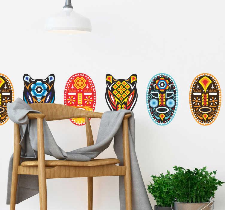 TenVinilo. Vinilo pared Máscara Huichol. Original y colorida cenefa adhesiva formada por un conjunto de cinco máscaras, creadas a partir del arte huichol. +20 Colores Disponibles.