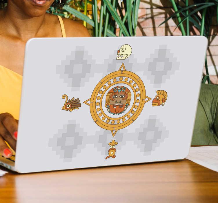 TenVinilo. Pegatina para portátiles Maya tribal. Original pegatina para portátil o tablet formado por el diseño de un tribal típico de la cultura maya. Vinilos Personalizados a medida.