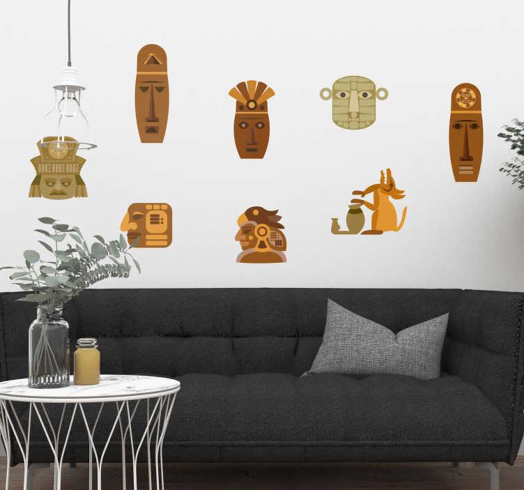 TenVinilo. Vinilo pared Motivos zapotecas. Original pegatina adhesiva formada por siete diseños diferentes de la cultura zapoteca típica de México. Atención al Cliente Personalizada.