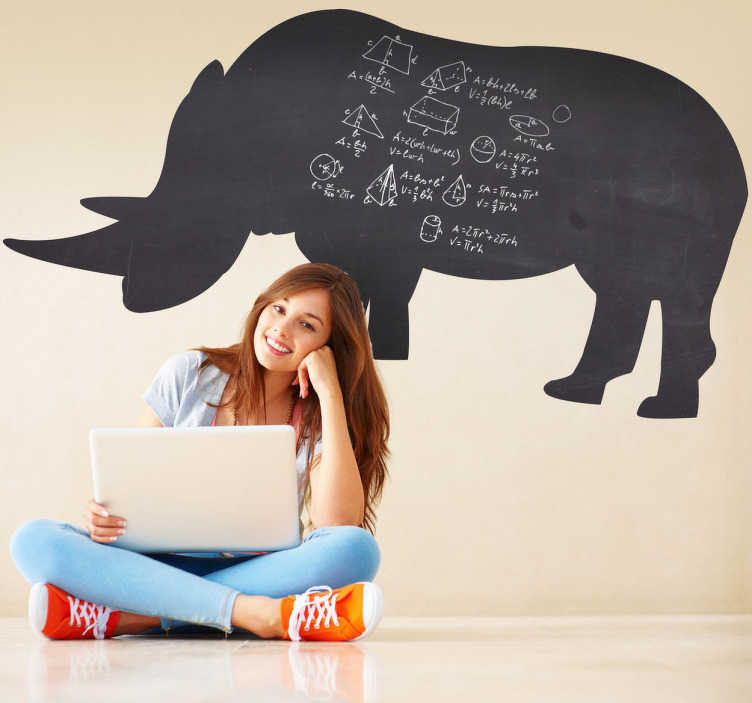 TenStickers. Rhino Silhouette Blackboard Sticker. Blackboard Stickers- Silhouette illustration of a rhino. Slate sticker design ideal for decorating any room, also practical for drawing