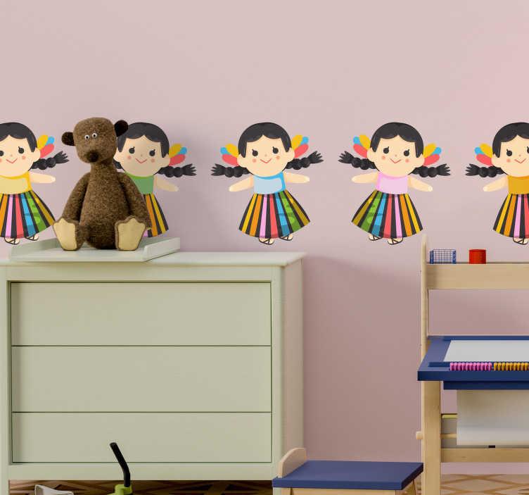 TenVinilo. Vinilo pared Muñecas María. Original cenefa adhesiva para habitación infantil formada por un patrón de muñecas María típicas de México. +10.000 Opiniones satisfactorias.