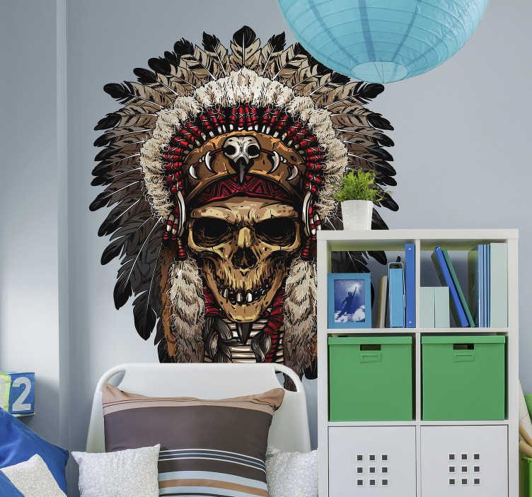 TenVinilo. Vinilo pared Indio apache calavera. Original pegatina adhesiva formada por la ilustración de un indio apache con el diseño de una tenebrosa calavera. Atención al Cliente Personalizada.