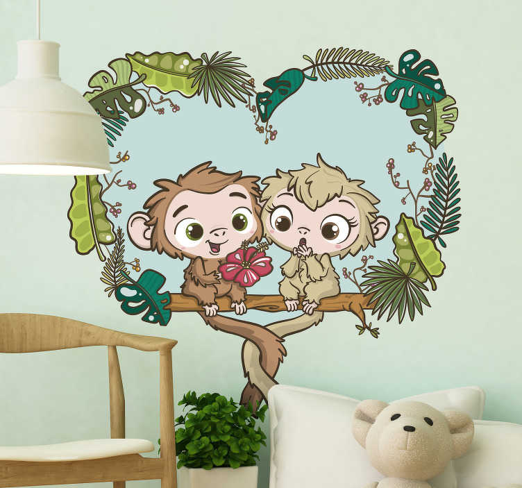 TenStickers. Sticker Illustration Singes sur la Branche. Comme ces petits singes sur une branche sont mignons ! Ce sticker déco chambre d'enfants illuminera les coeurs des enfants comme des parents.