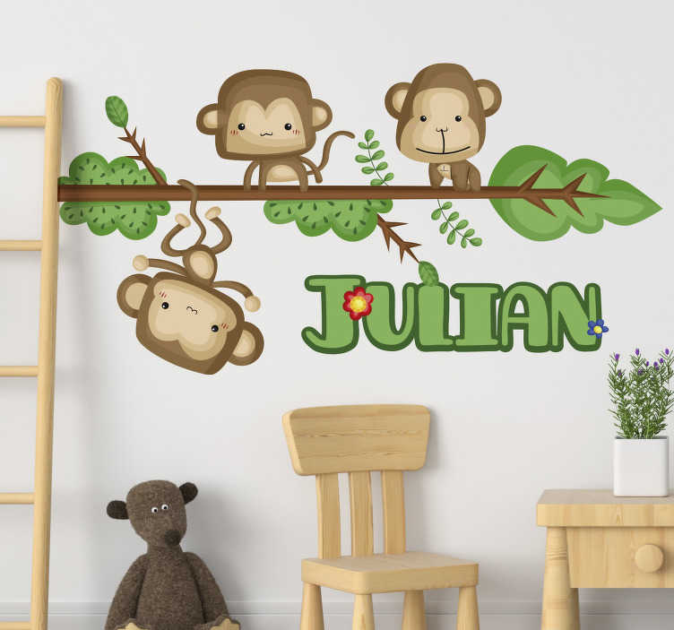 TenStickers. Monkeys with Name Animal Wall Sticker. Add some customisable animal decor with this fantastic wall art sticker, depicting some monkeys on a branch! Available in 50 colours.