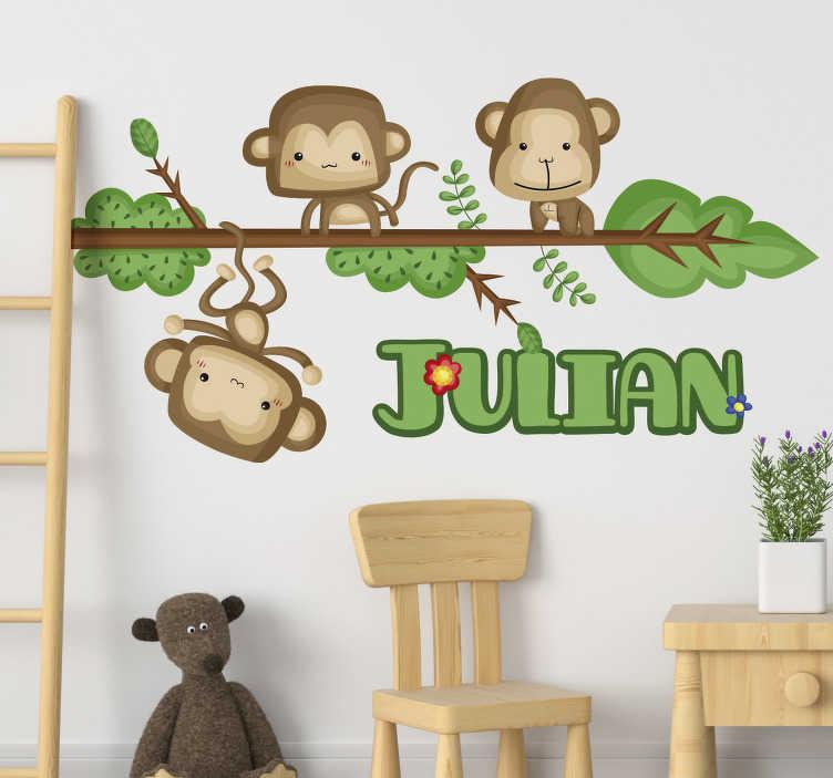 TenStickers. Sticker Chambre Enfant Singes Personnalisables. Ces adorables petits singes facétieux vous feront craquer. Ce sticker chambre d'enfant peut être personnalisé pour correspondre à son prénom.