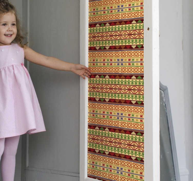 TenStickers. 墨西哥rebozo玻璃门贴. 带有墨西哥reboze设计的原始装饰门贴纸。可提供任何所需的尺寸,易于施工并具有自粘性。