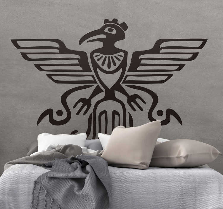 TenStickers. Mayan bird symbol bird sticker. Decorative home wall decal with the design of Mayan symbolic bird design. Available in different colour and sizes. Easy to apply.
