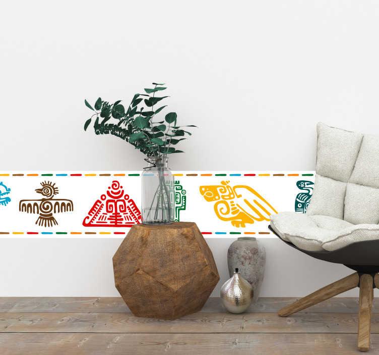 TenVinilo. Vinilo original Patrones mayas. Original cenefa adhesiva formada por el diseño de varios símbolos maya en diferentes colores. Promociones Exclusivas vía e-mail.